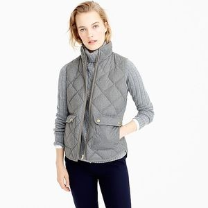 J.crew gray flannel excursion vest puffy quilted